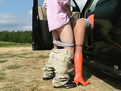 Hot Blonde Cougar In High-heeled Boots Suck and Fuck