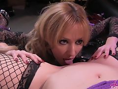 Sexy blonde eating pussy of her tied up girlfriend