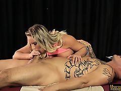 Big juggs blondie masseuse Cali Carter fucked by two dudes
