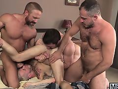 Cute young studs and older hunks have a wild fuck session