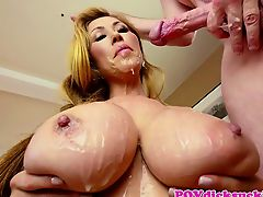 Asian milf cocksucking and gets cum in mouth
